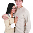 Happy Young Couple Holding Hands Smiling — Stock Photo