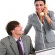 Two Happy Young Business Persons Working — Stock Photo
