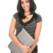 Casual Dressed Hispanic Female Student Holding Laptop — Stock Photo