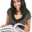 Happy Casual Dressed Hispanic Female Student Studing — Stock Photo
