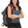 Happy Casual Dressed Hispanic Female Student Standing - Stock Photo
