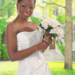 Beautiful African American Bride Portrait Outdoor - Stock Photo