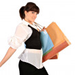 Nicely Dressed Young Woman Holding Shopping Bags - Stock Photo