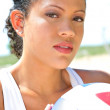 Natural Looking Happy Healthy Beach Volleyball Player — Stock Photo