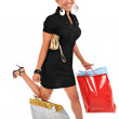 Running happy smiling female shopper — Stock Photo
