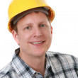 Cheerful Construction Worker Portrait Isolated — Stock Photo