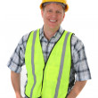 Royalty-Free Stock Photo: Smiling Mid-age Construction Worker Portrait Isolated