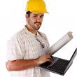Contractor Holding Laptop — Stock Photo