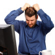 Stressful Business Man Pulling Hairs — Stock Photo