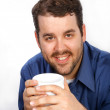 Young Businessman Holding Coffee Cup — Stock Photo