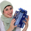 Beautiful Young Female Holding Christmas Gift Box — Stock Photo