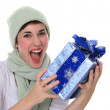 Stock Photo: Beautiful Young Female Holding Christmas Gift Box Big Smile