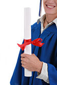 Young Student Holding Graduation Certificate Closeup — Stock Photo