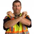 Security Officer Directing Isolated — Stock Photo