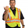Stock Photo: Security Officer Directing Isolated