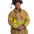 Uniformed Firefighter Standing Portrait — Stock Photo