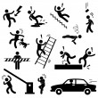 Caution Safety Danger Electricity Shock Slippery Fall Car Accident Icon Sign Symbol Pictogram — Image vectorielle