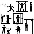 Punishment Torture Justice Death Sentence Execution Icon Symbol Sign Pictogram — Imagen vectorial
