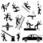 Attention danger électricité choc chute glissante voiture accident icône signe symbole pictogramme de sécurité — Vecteur