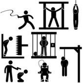 Castigo tortura justicia muerte condena ejecución icono símbolo signo pictograma — Vector de stock