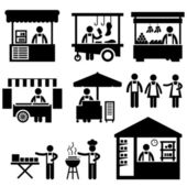 Business Stall Store Booth Market Marketplace Shop Icon Symbol Sign Pictogram — Stock Vector