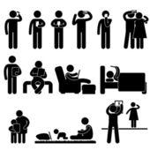 Enfants de la femme de l'homme à l'aide du symbole d'icône de smartphone et tablette signent pictogramme — Vecteur