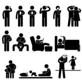 Man Woman Children using Smartphone and Tablet Icon Symbol Sign Pictogram — 图库矢量图片