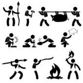Primitive Ancient Prehistoric Caveman Man Human using Tool and Equipment Icon Symbol Sign Pictogram — Stock Vector