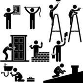 Bricoleur électricien serrurier entrepreneur travail fixant réparation maison toit léger icône symbole signe pictogramme — Vecteur