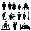 Cтоковый вектор: Fat MWomKid Child Couple Obesity Overweight Icon Symbol Sign Pictogram