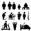 Fat Man Woman Kid Child Couple Obesity Overweight Icon Symbol Sign Pictogram — Stock Vector