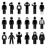Worker Construction Proper Safety Attire Uniform Wear Cloth Icon Symbol Sign Pictogram — Stock Vector