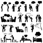 člověk mluvící myšlení konverzace myslel, že smích, vtip, šeptá, křičí chatování ikonu symbolu znamení piktogram — Stock vektor