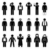 Vestimenta de seguridad adecuada de trabajadores construcción uniforme usar pictograma paño icono símbolo signo — Vector de stock