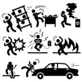 Coche accidente explosión electrocutado fuego peligro icono símbolo signo pictograma — Vector de stock