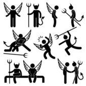 Diabeł anioł przyjaciela wroga ikony symbol znak piktogram — Wektor stockowy