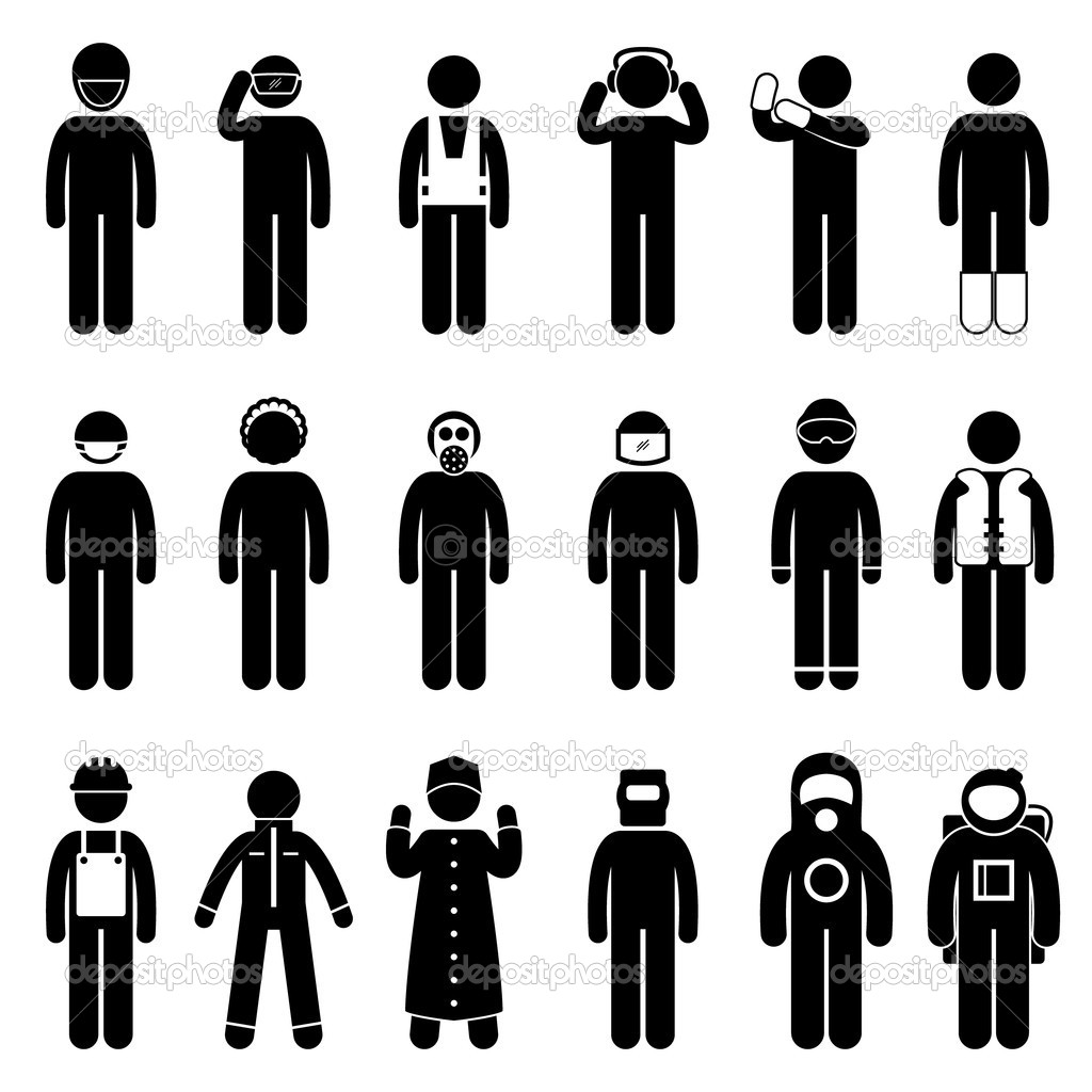 A set of pictogram representing safety attire uniform. — Stock Vector #11245532
