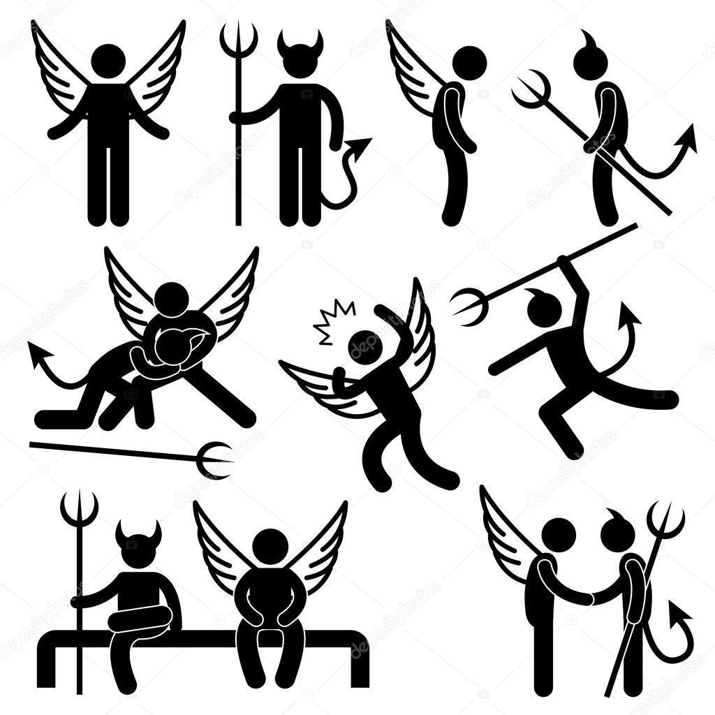 set of pictogram representing devil and angel. —