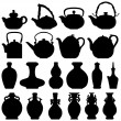 Tea Teapot Wine Bottle Japanese Chinese Oriental Silhouette — Stock Vector