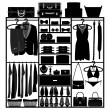 Closet Wardrobe Cupboard Cloth Accessories Man Woman Fashion Wear Silhouette — Stock vektor
