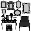 Antique Picture Frame Ornate Vintage Retro Museum Object Furniture — Vector de stock