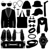 Man Male Clothing Wear Accessories Fashion Design — Vecteur