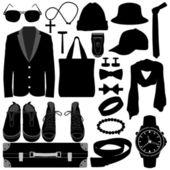 Roupa masculina homem usar o design de moda acessórios — Vetorial Stock