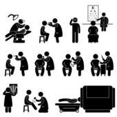 Chequeo médico cuerpo a examen prueba icono símbolo signo pictograma — Vector de stock
