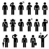 Man mannenmode dragen lichaam accessoires pictogram symbool teken pictogram — Stockvector