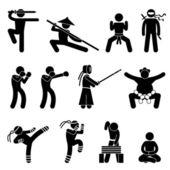 Artes marciales kung fu wushu chino ninja boxeador kendo sumo muay tailandés icono símbolo signo pictograma de autodefensa — Vector de stock