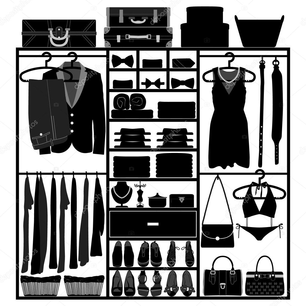 A set of man and woman clothing accessories in a closet. — Stock Vector #11592867