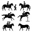 Horse Riding Training Jockey Equestrian Icon Symbol Sign Pictogram — Imagen vectorial
