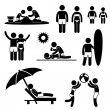 Stock Vector: Family Summer Beach Holiday Vacation Icon Symbol Sign Pictogram