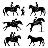 Horse Riding Training Jockey Equestrian Icon Symbol Sign Pictogram — 图库矢量图片